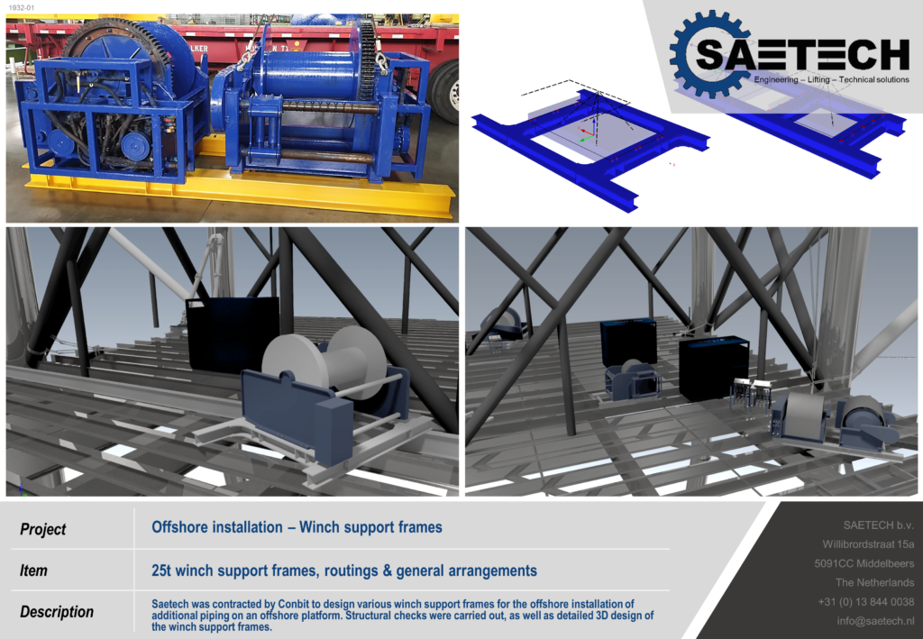 Offshore engineering winch frames